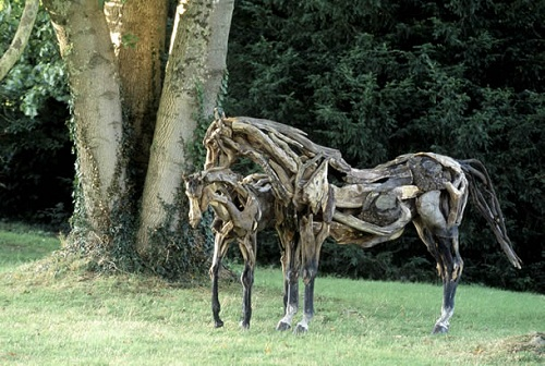 Driftwood horse sculpture by English artist Heather Jansch