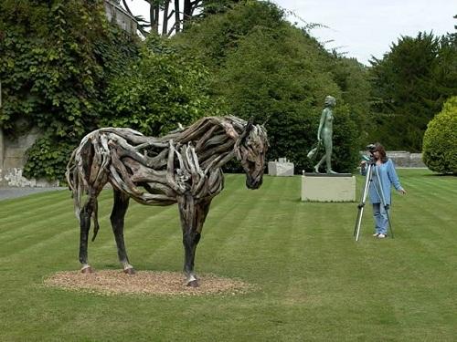 Driftwood horse sculpture by English artist Heather Jansch
