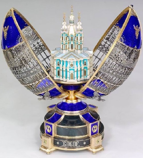 Easter Egg 'Majestic St. Petersburg' with a surprise inside, in the form of the Smolny Cathedral. Opening by clicking on a sapphire button