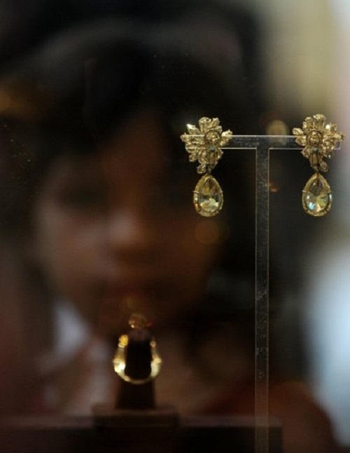 Taylor's earrings are displayed at a public exhibition in GUM on Moscow's Red Square, on September 14, 2011, shortly after the exhibition opening