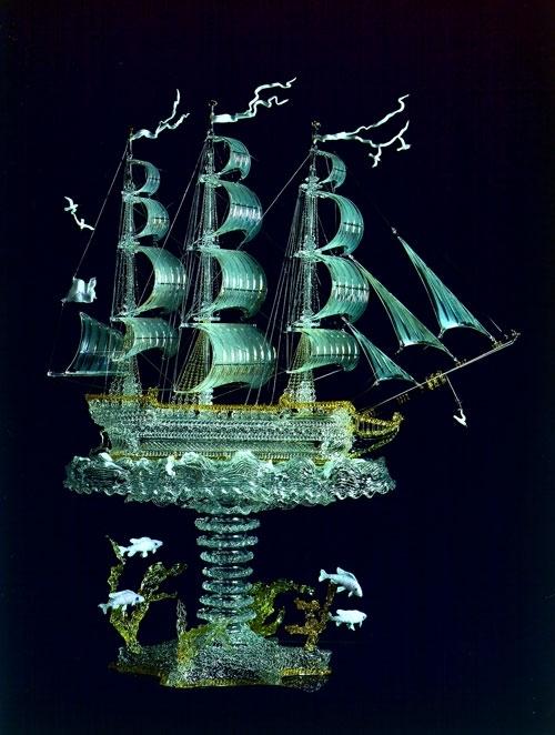Sails of Russia. Glass Sculpture by Russian artist Alexei Zelya