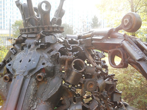 Zodiac sculpture made by Moscow sculptor Andrey Aseryants. The sculpture is made of bolts, nuts, bushings, etc., etc