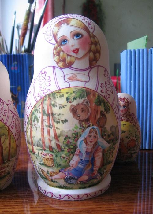 A set of ten Matryoshka dolls. Work by Russian artist of applied art Maria Vetoshkina
