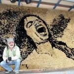 Next to his creation -Michael Jackson