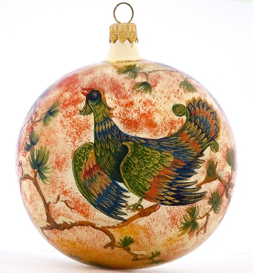 Christmas Glass ball, Lacquer miniature painting by Morozov art studio, Village Holuy, Ivanovo region, Russia