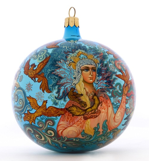 Beautiful Snegurochka in the winter forest. Christmas Glass ball, Lacquer miniature painting by Morozov art studio, Village Holuy, Ivanovo region, Russia