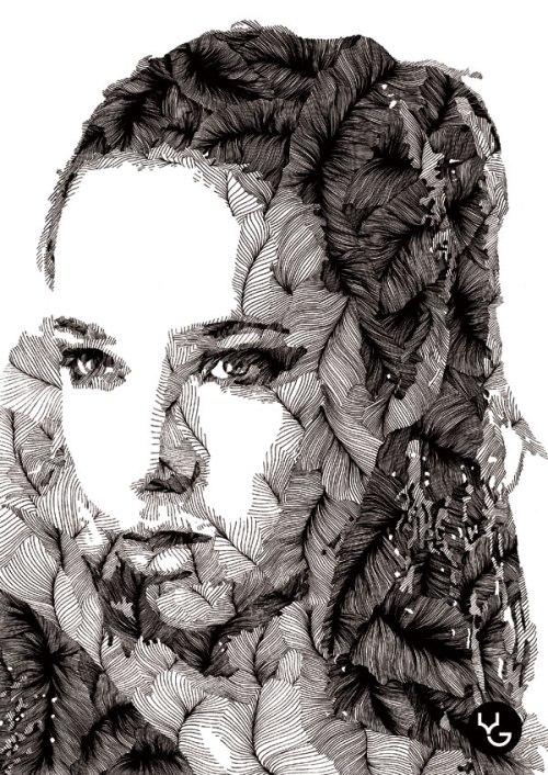 Beautiful woman's portrait. Rotring pen Drawing by Russian artist Vasily Godzh