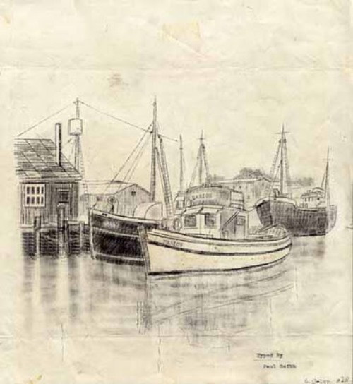 The Marion in Port. Typewriter Art by Paul Smith