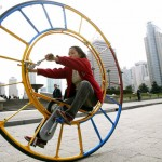 The unicycle designed several years ago by Chinese inventor Li Yongli, who called it the number one vehicle in the world
