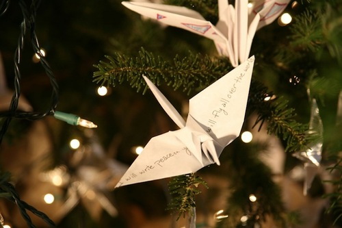 World Christmas tree of hope with seven thousand paper cranes