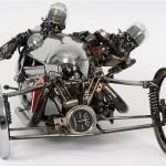 Two bikers. Metal sculptures by Australian artist James Corbett