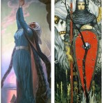 Woman warrior. Painting by Konstantin Vasilyev Russian artist