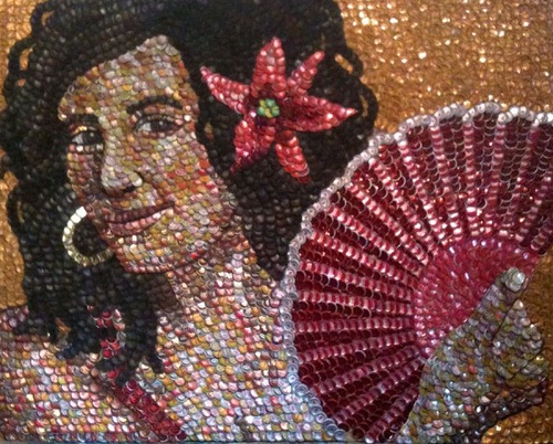 A dog. Bottle caps mosaic portrait by American self-taught artist Molly B. Right