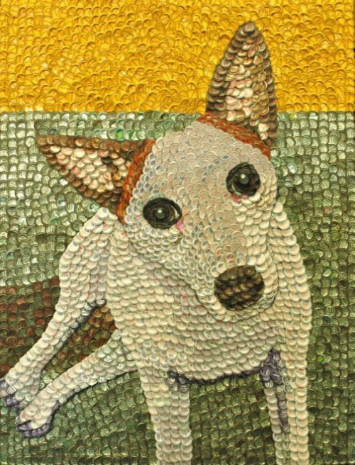 Bottle cap mosaic portrait by American self-taught artist Molly B. Right