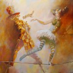 Together on a flying bicycle. Painting by Belarusian painter Oleg Tchoubakov