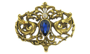 Art Deco brooch with sapphire