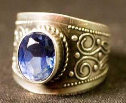 massive ring with sapphire