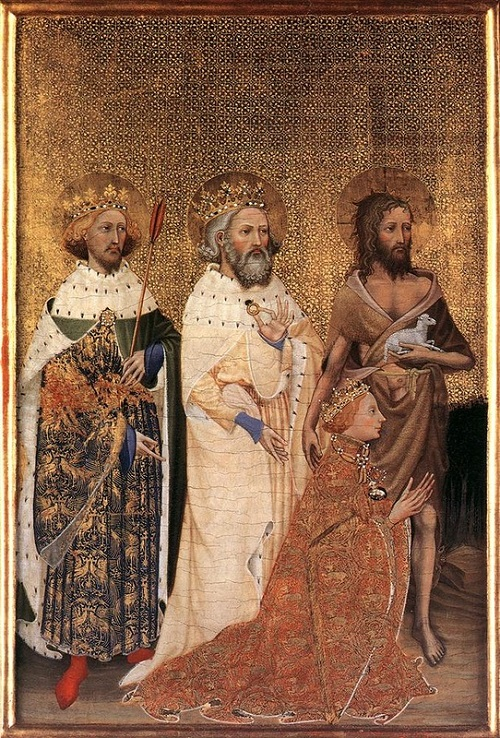 The left panel of the Wilton Diptych, where Edward (center), with Edmund the Martyr (left) and John the Baptist, depicted presenting Richard II to the heavenly host