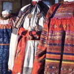 Sarafans worn as Russian folk costume by women and girls