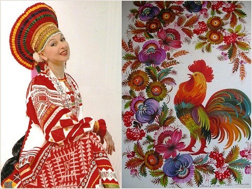 Russian traditional clothes  usually contain three colors of the national flag - white, red and blue