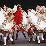 Traditional Russian clothes are worn now as folk costume for performing Russian folk songs and folk dancing
