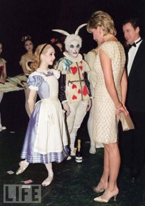 1993 Princess Diana talking with the ballet dancers of Alice in the Wonderland