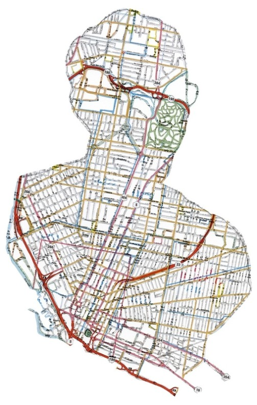 Owen. Providence. 2009. Hand-cut road map. Portraits from maps made by American artist Nikki Rosato
