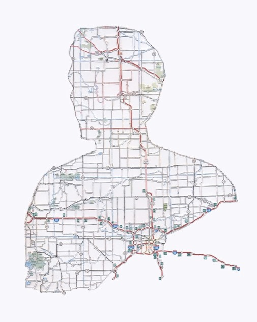 Danny. Mt. Pleasant. Hand-cut road map. Portraits from maps made by American artist Nikki Rosato