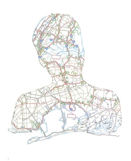 Tom. Jamaica, NY. 2009. Hand-cut road map. Work by American artist Nikki Rosato