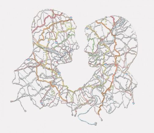 Pittsburgh Hand-cut road map. A couple. 2011. Work by American artist Nikki Rosato