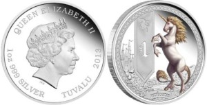 "Australian Mint in Perth for the government of Tuvalu in March 2013 introduced a new coin series ""Mythical Creatures"", which depicts a unicorn. Coin ""Unicorn"" The obverse features a portrait of Queen Elizabeth II of Great Britain rayuoty John Broadley (Ian Rank-Broadley). Around the engraved inscription: «QUEEN ELIZABETH II», «1oz 999 SILVER», «TUVALU 2013."""