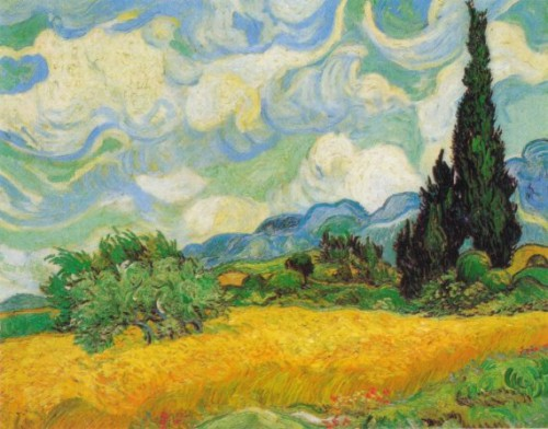 A Wheatfield with Cypresses by Vincent Van Gogh