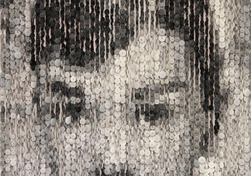 Audrey Hepburn Button Portrait (detail) by American artist Augusto Esquivel