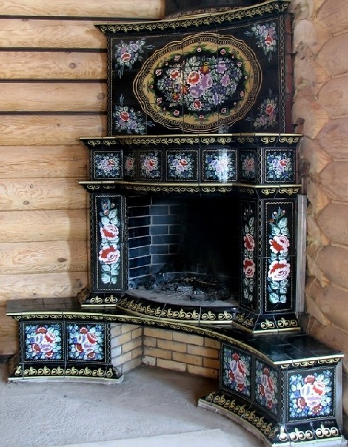 "Russian style fireplace (stove). Beautiful fireplace from new collection of fireplaces ""Kostroma"", made by Belarusian design studio of the company Aviz"