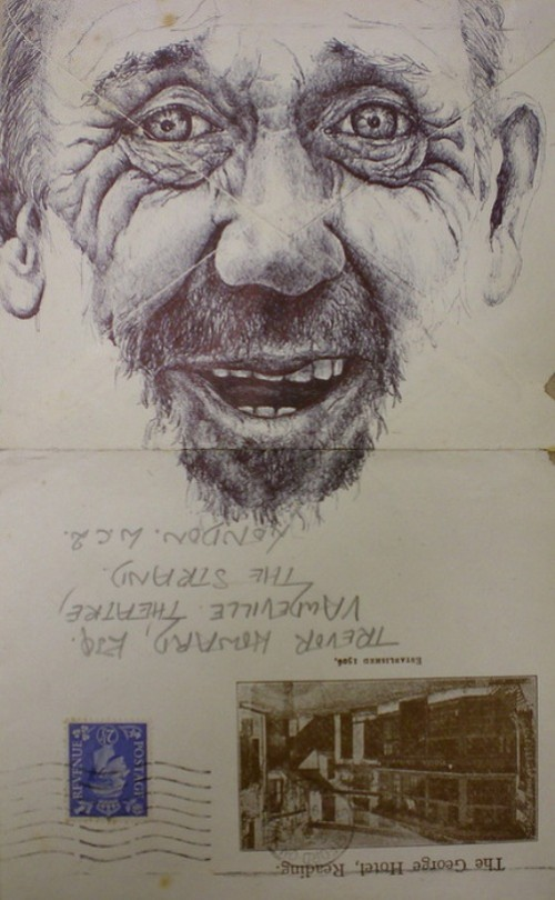 Bic Biro pen drawings on vintage envelopes by British artist Mark Powell