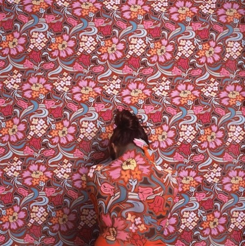 Floral pattern mixes with model