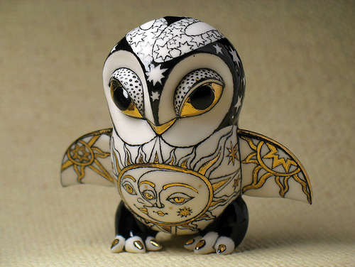 Little owl. Ceramic fantasy by Ukrainian artists Anna Stasenko and Slava Leontiev