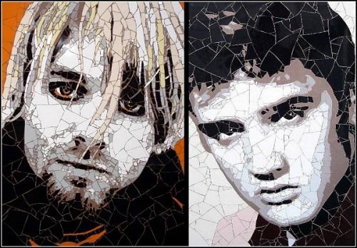 Kurt Cobain and Elvis Presley. Mosaic portraits by British artist Ed Chapman
