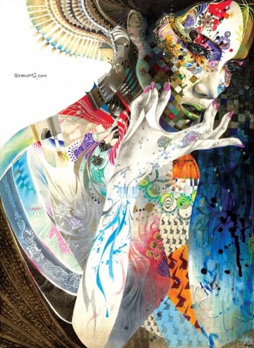 Portrait of a beautiful woman. Colorful Illustrations by South Korean artist Minjae Lee