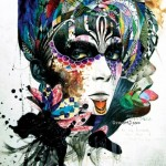 Venetian mask. Colorful Illustrations by South Korean artist Minjae Lee