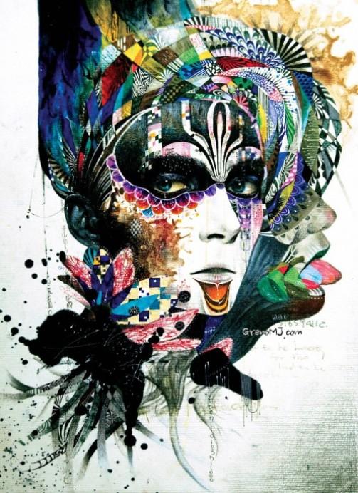 Venetian mask. Colorful Illustrations by South Korean artist Minjae Lee