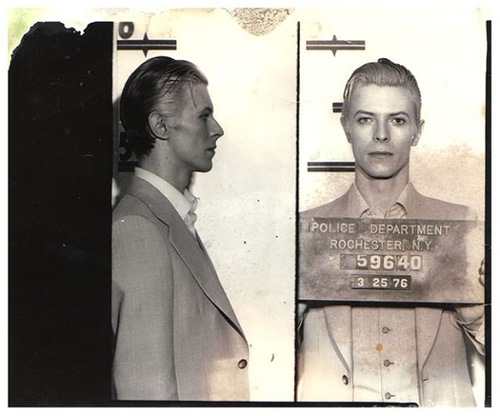 David Bowie arrested in upstate New York in March 1976 on a felony pot possession charge