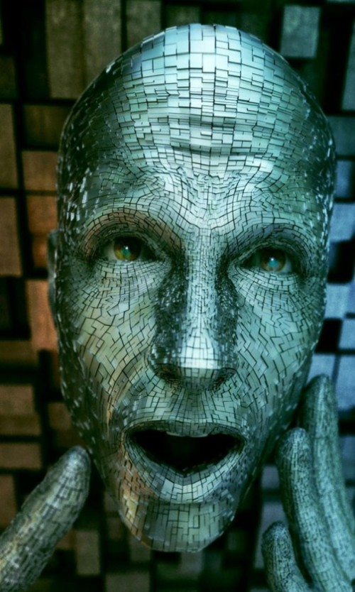 Weird face. Digital abstract art by Adam Martinakis