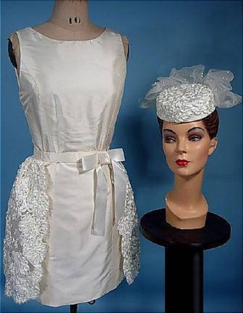 Dress made of taffeta skirt with a decorative lace and cap-tablet, decorated with silk lace and pearls with a veil. 1960