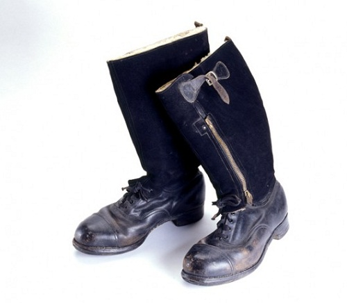 Escape Boot. Circa 1939-1945, MI9. With their tops cut off, these boots look like civilian shoes. They helped downed pilots blend in with the locals behind enemy