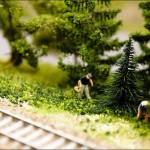 Looking for mushrooms, miniature sculpture