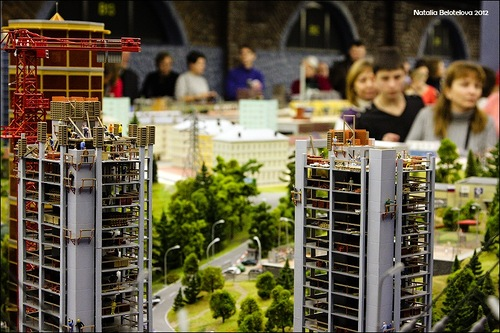"""People visiting the exhibition """"Grand Layout of Russia"""""""