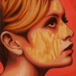 """Lesley Lawson, English model known as Twiggy. From the series """"Gum Blondes"""". Portrait of chewed bubblegum on plywood. Work by Canadian artist Jason Kronenwald"""