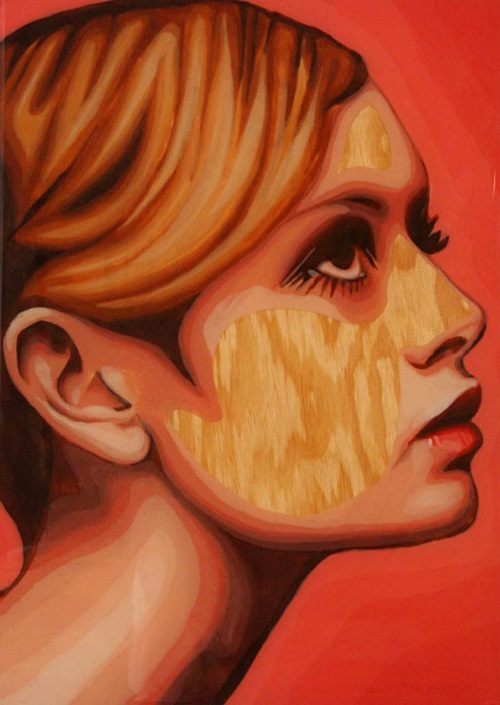 "Lesley Lawson, English model known as Twiggy. From the series ""Gum Blondes"". Portrait of chewed bubblegum on plywood. Work by Canadian artist Jason Kronenwald"