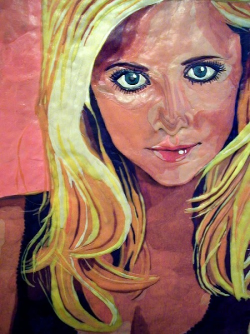 "Sarah Michelle Gellar. 1999 portrait of chewed bubblegum on plywood. From the series ""Gum Blondes"". Work by Canadian artist Jason Kronenwald"